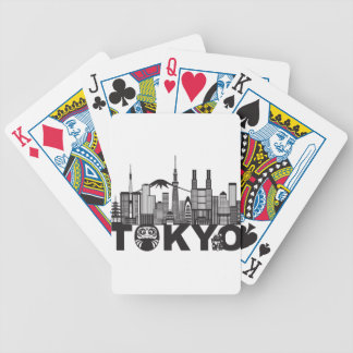Tokyo City Skyline Text Black and White Bicycle Playing Cards