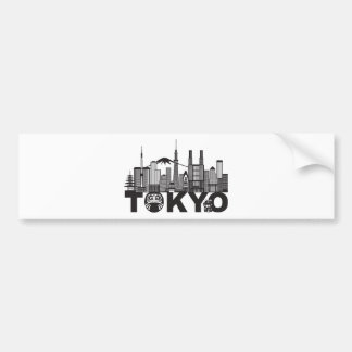 Tokyo City Skyline Text Black and White Bumper Sticker