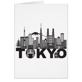 Tokyo City Skyline Text Black and White Card