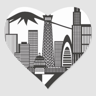 Tokyo City Skyline Text Black and White Heart Sticker