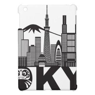 Tokyo City Skyline Text Black and White iPad Mini Cover