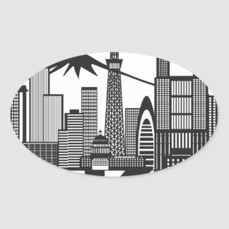 Tokyo City Skyline Text Black and White Oval Sticker