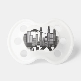 Tokyo City Skyline Text Black and White Pacifier