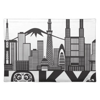 Tokyo City Skyline Text Black and White Placemat