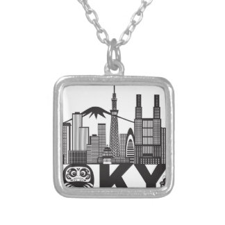 Tokyo City Skyline Text Black and White Silver Plated Necklace
