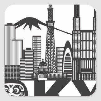 Tokyo City Skyline Text Black and White Square Sticker