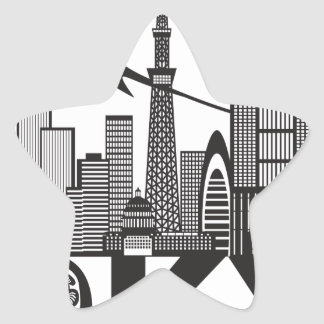 Tokyo City Skyline Text Black and White Star Sticker