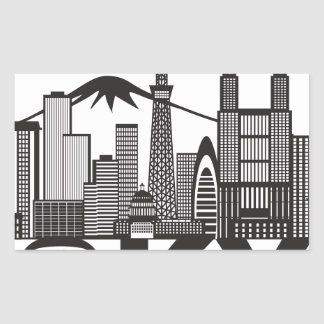 Tokyo City Skyline Text Black and White Sticker