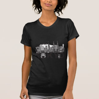 Tokyo City Skyline Text Black and White T-Shirt