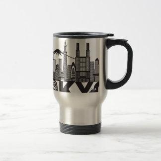 Tokyo City Skyline Text Black and White Travel Mug