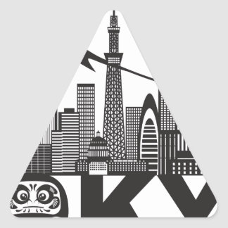 Tokyo City Skyline Text Black and White Triangle Sticker