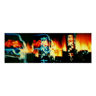 Tokyo In Flames A  Photo/ TV Digital Painting Poster
