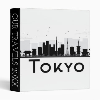 Tokyo, Japan | Black & White City Skyline 3 Ring Binder