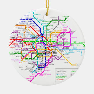 Tokyo Japan Subway Map Ceramic Ornament