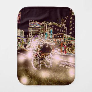 Tokyo Rickshw Night Burp Cloth