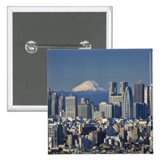 Tokyo, Shinjuku District Skyline, Mount Fuji, 2 Inch Square Button