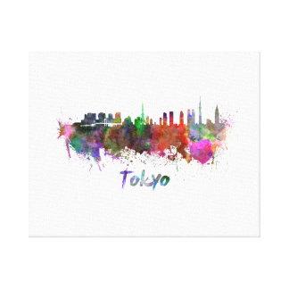 Tokyo skyline in watercolor canvas print