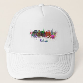 Tokyo skyline in watercolor trucker hat