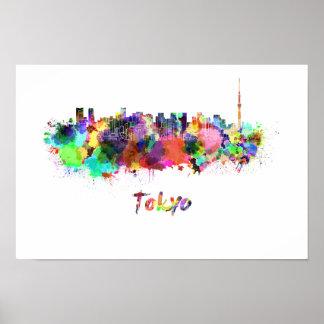Tokyo V2 skyline in watercolor Poster