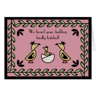 Tole Duckling New Baby Girl Congratulations Card