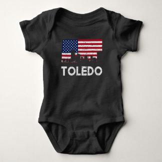 Toledo OH American Flag Skyline Distressed Baby Bodysuit