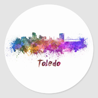 Toledo OH skyline in watercolor Classic Round Sticker