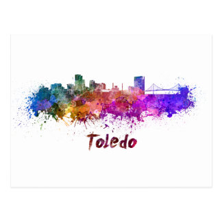 Toledo OH skyline in watercolor Postcard