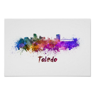 Toledo OH skyline in watercolor Poster