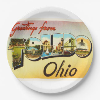 Toledo Ohio OH Old Vintage Travel Souvenir 9 Inch Paper Plate