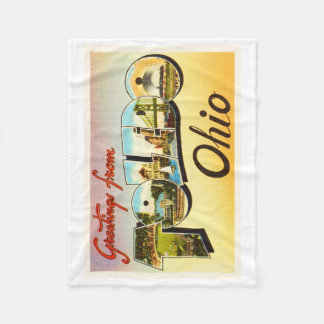 Toledo Ohio OH Old Vintage Travel Souvenir Fleece Blanket