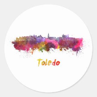 Toledo skyline in watercolor classic round sticker