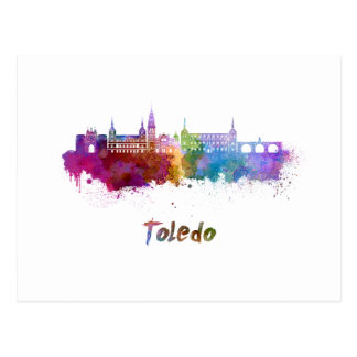 Toledo skyline in watercolor postcard