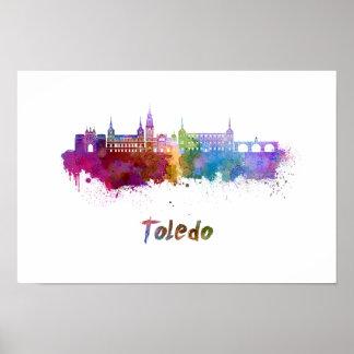 Toledo skyline in watercolor poster