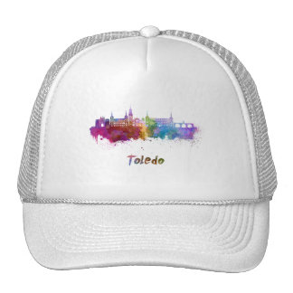 Toledo skyline in watercolor trucker hat