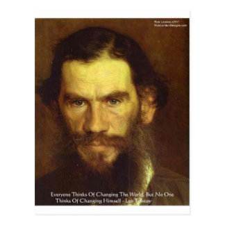 """Tolstoy """"Change Yourself"""" Wisdom Quote Gifts & Tee Postcard"""