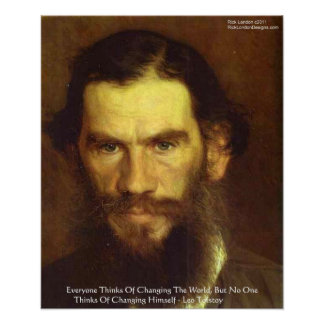 """Tolstoy """"Change Yourself"""" Wisdom Quote Poster Print"""