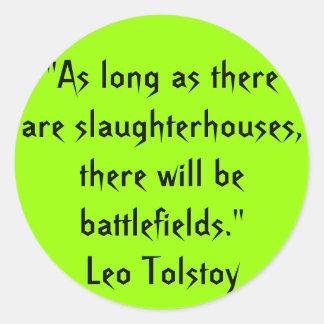 Tolstoy Vegetarian Quote Round Sticker