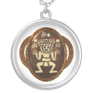 Toltec Juggler Silver Plated Necklace