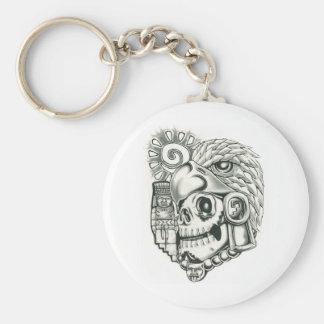 Toltec Sun Warrior Basic Round Button Keychain