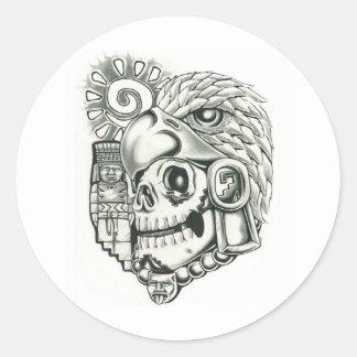 Toltec Sun Warrior Round Sticker