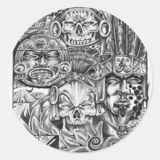 Toltec Warriors Round Sticker