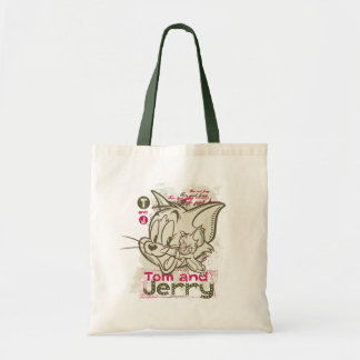 Tom and Jerry Pink and Green Tote Bag