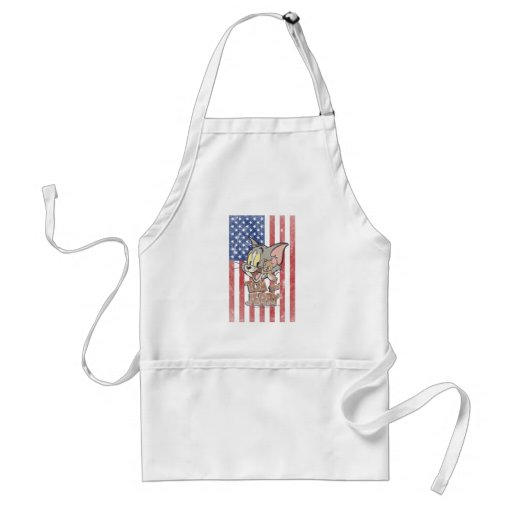 Tom & Jerry With US Flag Apron