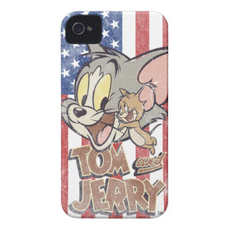 Tom & Jerry With US Flag iPhone 4 Cases