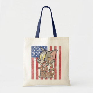 Tom & Jerry With US Flag Tote Bag
