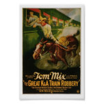 Tom Mix Great K&A Train Robbery Poster