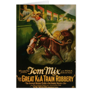 Tom Mix Great K&A Train Robbery Poster Card