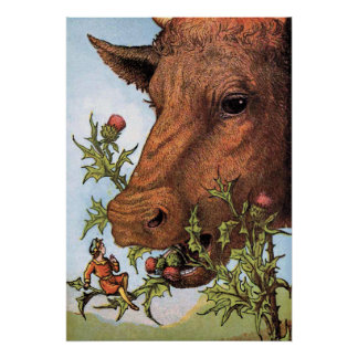 """Tom Thumb and the Cow"" Illustration Poster"