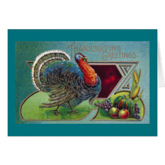 Tom Turkey and Fall Fruits Vintage Thanksgiving Card