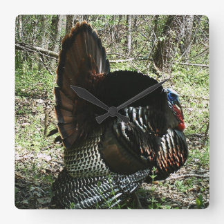 TOM TURKEY FULL STRUT SQUARE  WALL CLOCK